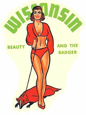 Wisconsin   Bathing Beauty Pin-Up Sticker   Vintage 1950's Style  Travel Decal