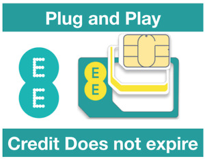 EE Pay as You go Sim, Credit does not expire, Free incoming calls-SMS Plug&Play