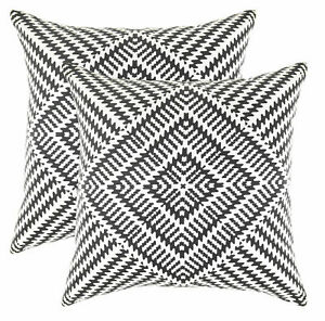 """Lot of 2 Tree Wool Boho Accent Pillow Case Covers Black White Diamond 22"""" Square"""