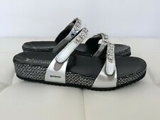 NEW! MEPHISTO Size 41 10 - 11 Black Silver Sandals Shoes Flip Flops Flat Women's