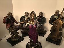 Jazz Band singer Double Bass Saxophone trumpet pianist Statue Sculpture Figurine