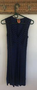 Tory Burch Blue Striped Silk Sullivan Sleeveless Jersey Dress Size XSmall #678