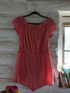 Atmosphere Red Gingham Playsuit - Size 12 - 16