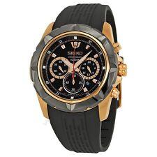 Seiko Lord SRW030 P1 Black Rose Gold Chronograph Men's Quartz Watch inc Gift Box