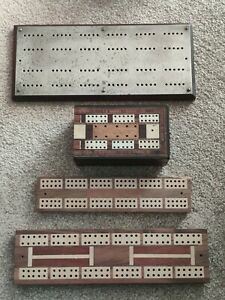 Vintage Cribbage Boards, Pegs Crib Board and Cribbage box with Playing Cards