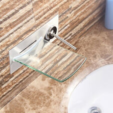 RE Wall Mount Glass Waterfall Spout Basin Sink Faucet Bathtub Mixer Brass Taps