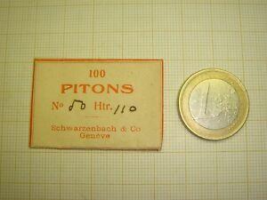 LOT DE 100 PITONS DIAMÈTRE 0,50 MM X PAR 1,10 MM  POUR SPIRAUX PLATS OU BRÉGUET