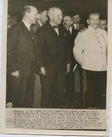1945 STALIN TRUMAN ATTLEE at Potsdam Conference ORIGINAL Press wire photo