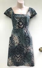 OJAY Fun Green & Bone Stretch Cotton Pocket Shift Dress sz 12