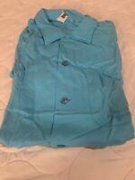 Vtg 50s Rockabilly NOS King Louie Blue Rayon Loop Collar Bowling Shirt Defects L