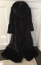 cafbe4965 EMILIO GUCCI Mahogany Mink Long Coat W/ Black Fox Fur Trim; Zip Off Fox