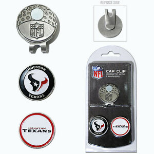 Houston Texans NFL Team Golf Cap Clip with 2 Magnetic Enamel Ball Markers