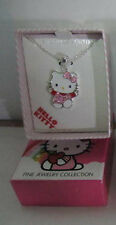 NWT SANRIO HELLO KITTY FINE SILVER PLATED CRYSTALS PENDANT NECKLACE GIFT $55
