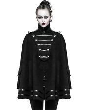 Punk Rave Womens Steampunk Military Cloak Cape Jacket Black Gothic Uniform WW2