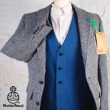 38R HARRIS TWEED Blazer Jacket Vintage Blue Plain Hacking Wedding Shooting #511