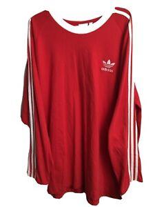 Adidas Originals Men's LUSH RED 3-Stripes Long Sleeve Shirt , 2XL. 70's Bayern.