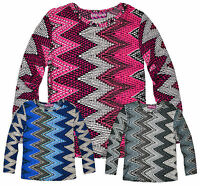 Girls Long Sleeved Aztec T Shirt New Kids Summer Top Pink Grey Blue 5-13 Years