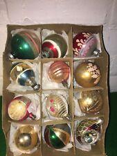 VINTAGE CHRISTMAS BALLS MERCURY GLASS ASSORTED STYLES ORIGINAL BOX ONE DOZEN