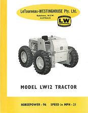 Le Tourneau Model LW12 Tractor Brochure 1959