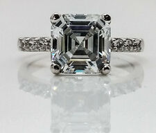 Asscher Cut Engagement Wedding Ring with Accents 3.00ctw. 14K White Gold #4572