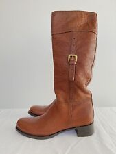 PRADA Pebbled Brown Leather Knee High Riding Boots with Buckle - 37.5 / 7.5