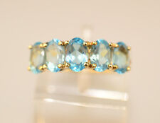 10K YELLOW GOLD LIGHT BLUE TOPAZ RING BAND WITH 5 OVAL STONES SIZE 6.5