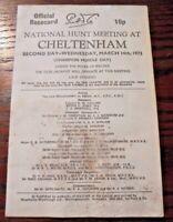 CHELTENHAM RACE CARD MARCH 14TH,1973 - THE CHAMPION HURDLE & COMEDY OF ERRORS