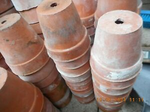 """VINTAGE TERRACOTTA CLAY POTS 3.5""""  no cracks,1920s-30s GREAT STURDY CUTTING POTS"""