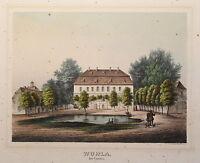 Lithografie Wohla bei Kamenz Sachsen Poenicke Schlösser & Rittergüter um 1855 xz