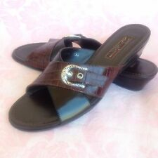 Brighton Lorna Black/ Brown Sandals W/ Buckle Made in Italy Size 6.5 M Gorgeous