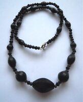 Perlenkette --Halskette- Glaskette - SCHWARZ - Trauerschmuck  Gablonz/Böhmen