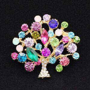 Betsey Johnson Colorful Crystal Rhinestone Flower Tree Women's Brooch Pin Gift