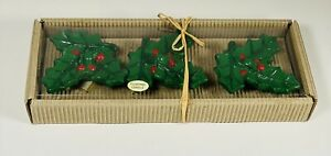 """Set Of 3 Christmas Holly Berry Floating Candles Yuletide 3.5"""""""