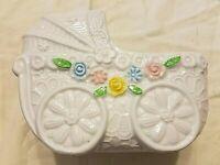 Vintage Napcoware Import Japan #1829 Ceramic Baby Carriage Blue Floral Planter