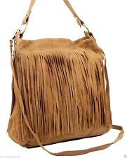 Made in Italy Fransentasche Beuteltasche Bag Schultertasche Wildleder Bag