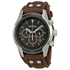 Fossil Coachman Chronograph Black Dial Brown Leather Mens Watch CH2891