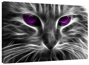 Abstract Neon Cat Eyes Canvas Wall Art Picture Print
