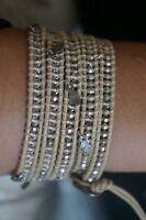 NEW Chan Luu Swarovski Crystal Sterling Silver Leaf Charm 5 Wrap Bracelet UNIQ