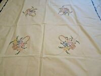 Multicolored Daisies Green Foliage Brown Basket Embroidered Blue Edge Tablecloth