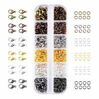 6 Colors Lobster Claw Clasps and 6 Colors Open Jump Rings for Jewelry Makin H5Q8
