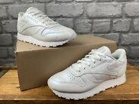 REEBOK LADIES CLASSIC LEATHER PEARLESCENT WHITE TRAINERS VARIOUS SIZES