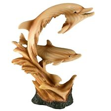 "Two Dolphins On Waves Faux Carved Wood Look Figurine 9.25"" High Resin Statue New"