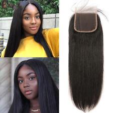 Brazilian Straight Hair 4x4 Lace Closure Free Part Remy Human Hair Natural Black