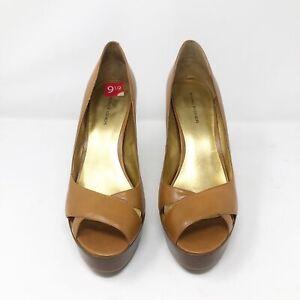 Marc Fisher Women's Size 9.5 Beige Tan Heels Mandisa Platform Leather With Box