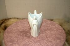 Older Avon White Bisque Double Angel Vase or Candle Holder-Choir & Praying Motif