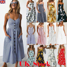 UK Womens Swing Dress Strappy Button Pocket Holiday Summer Beach Midi Sundress
