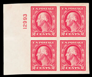 Scott 482 1916 2c Washington Imperf Mint Plate # Block of 4 XF OG NH Cat $11+