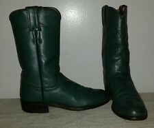JUSTIN Women's green leather western roper boots Size 4.5 B Made in USA