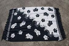 Beautiful Hawaiian Print Large Beach Sarong Rayon Black & White Flowers Pareos