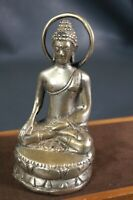 Antique Lord Shiva Buddha Tibetan Brass Sculpture Meditation Lotus Figure Statue